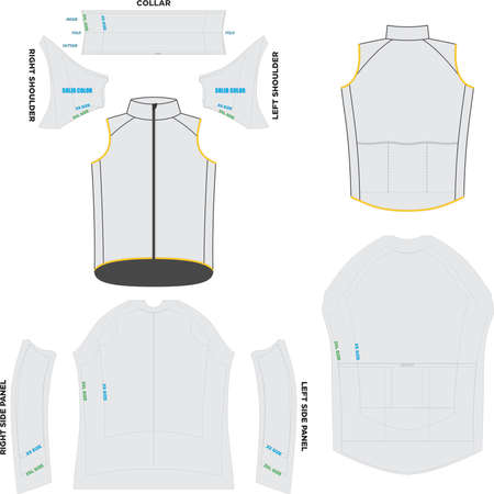 Wind thermal Vest Mock ups and Artwork pattern vectors Ilustração