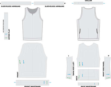 Performance Sleeveless Tri Top Mock ups and Artwork Patterns illustrations