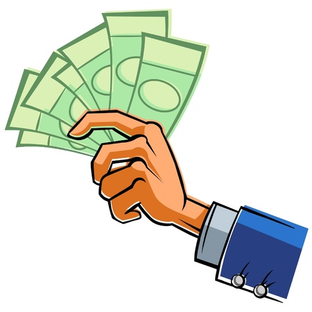 hand cartoon: Hand with banknotes.