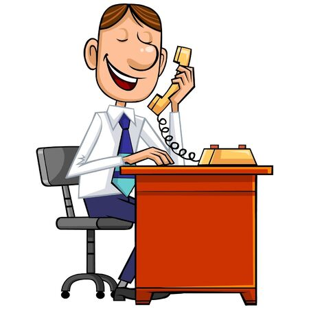 Salesman with phone. Stock Vector - 9382066
