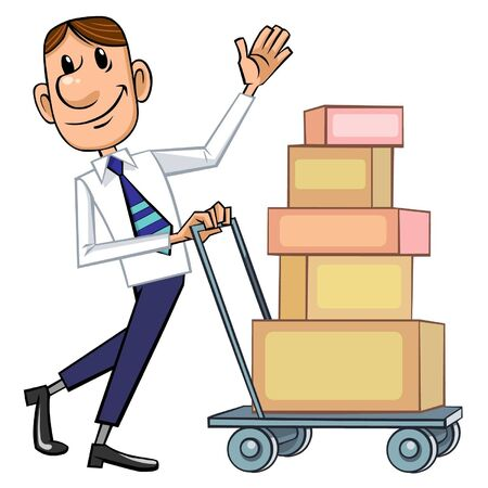 Business man with cart. Stock Vector - 9382069