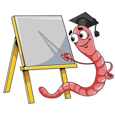 worm cartoon: Worm with board.