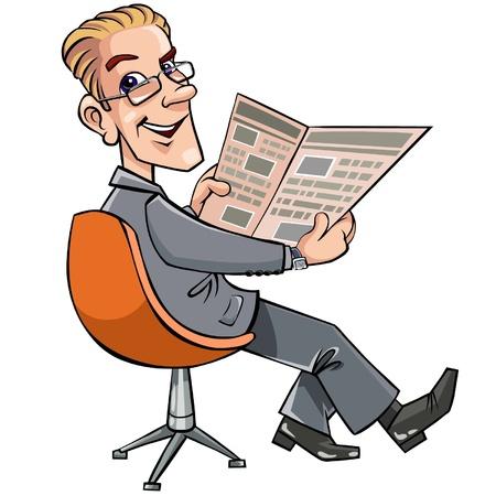 read magazine: Businessman reading the newspaper. Illustration