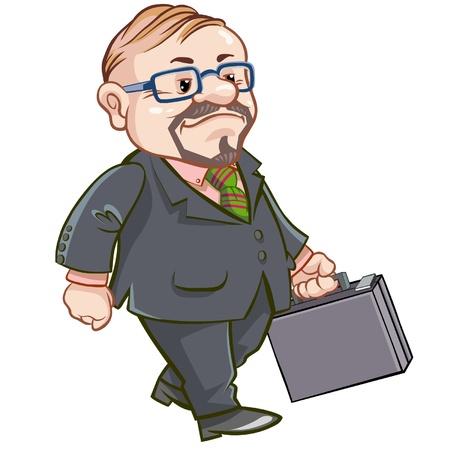 Cartoon walking businessman with briefcase.  Vector