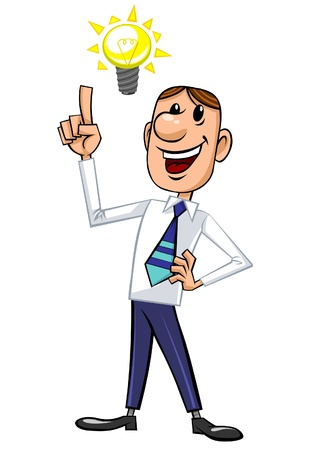idea cartoon: Businessman with great idea.