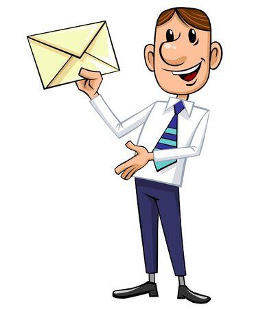 Businessman holding a letter.