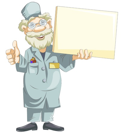 A smiling cartoon doctor holds a blank nameplate.