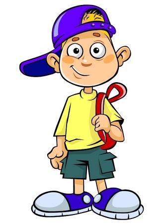 cartoon jongen: Cartoon jongen met tas.