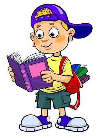 child looking up:  Reading Kid  Illustration