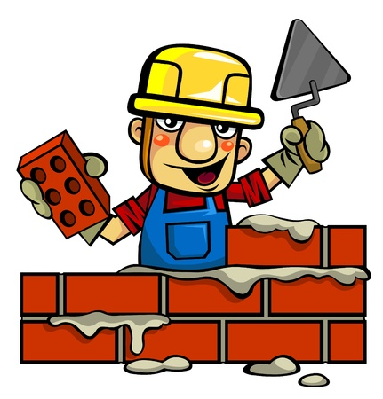 Worker Builds Brick Wall
