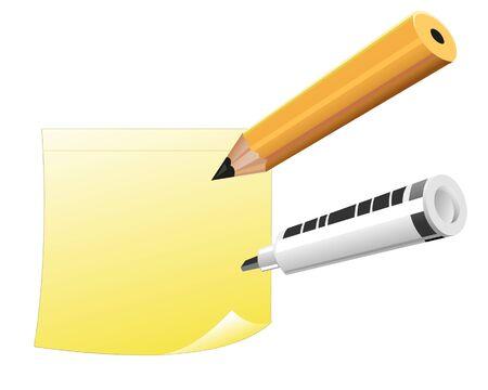 Yellow note with pencil and marker Zdjęcie Seryjne - 14540746