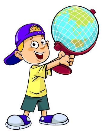 A vector illustration of child holding the globe Ilustração Vetorial