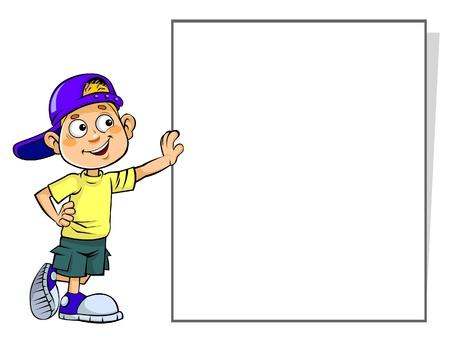 billboard posting: Kid holds Blank Sign  Illustration