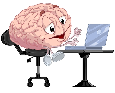 using laptop: Cartoon Cervello con laptop
