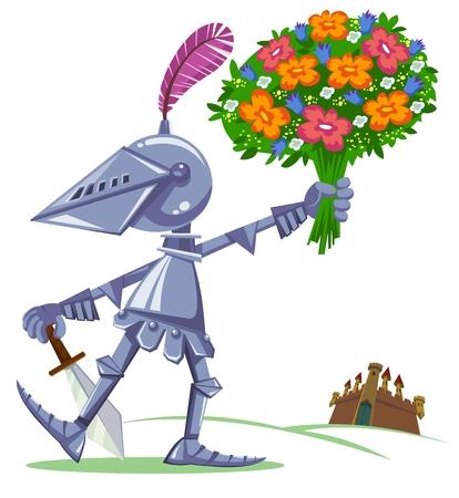 cartoon knight: Knight with flowers