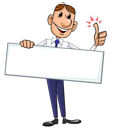blank sign: Businessman with blank sign