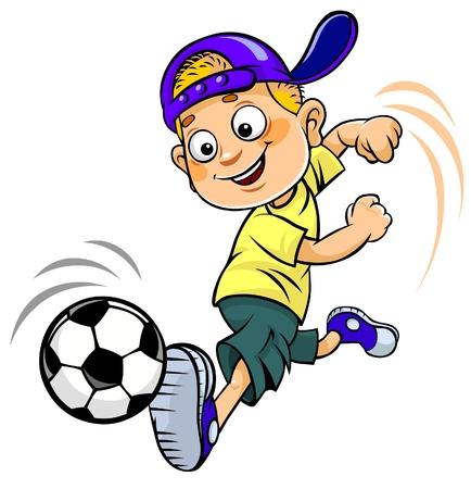 futbol soccer dibujos: Niño de la historieta de Fútbol Foto de archivo