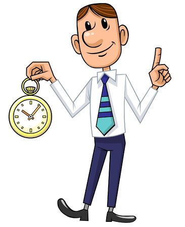 Cartoon businessman holding the clock.