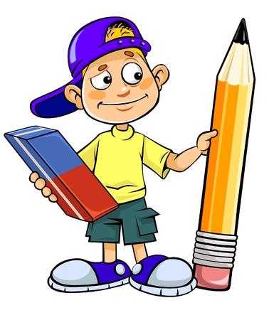Enfant de bande dessinée tenant crayon et une gomme