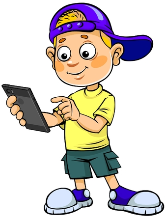 Cartoon kind met mobiele telefoon