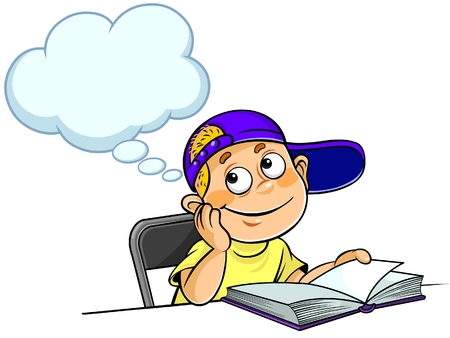 Kid Thinking with a book