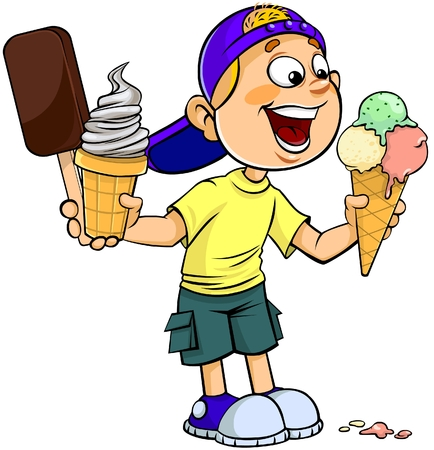 cartoon ice cream: Child with ice-cream