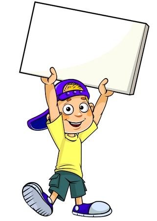Cartoon boy with blank banner Ilustracja
