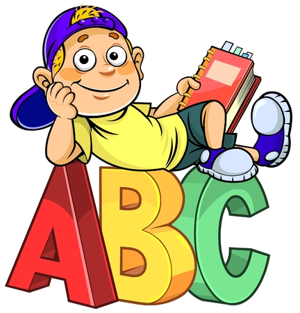 spelling: Cartoon boy holding a book and sitting on ABC alphabet letters.