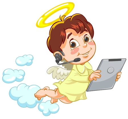 artificial wing: Vector illustration of little angel holding Tablet