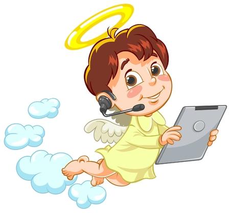 call center representative: Vector illustration of little angel holding Tablet