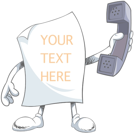 Blank Paper Character holding phone
