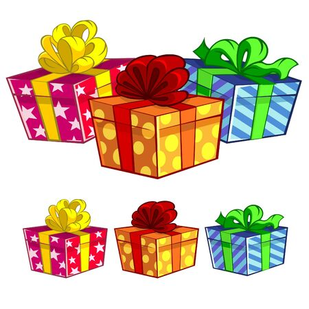 three objects: three gift boxes
