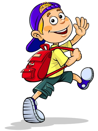 Cartoon boy going to school Banco de Imagens - 48061006