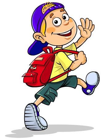elementary age: Cartoon boy going to school
