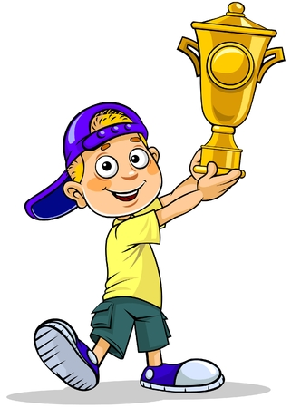 Cartoon illustration of a school boy holding a trophy. Ilustracja