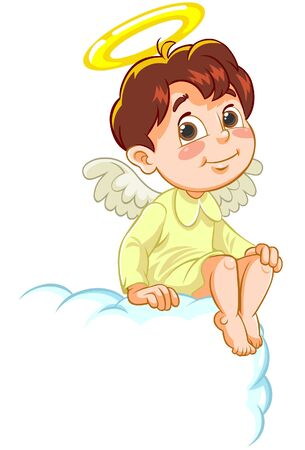 one child: Angel sitting on cloud