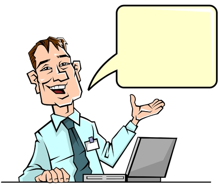 Businessman with speech bubble Illustration