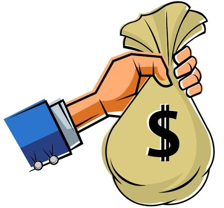 slip homme: Une main tenant sac d'argent