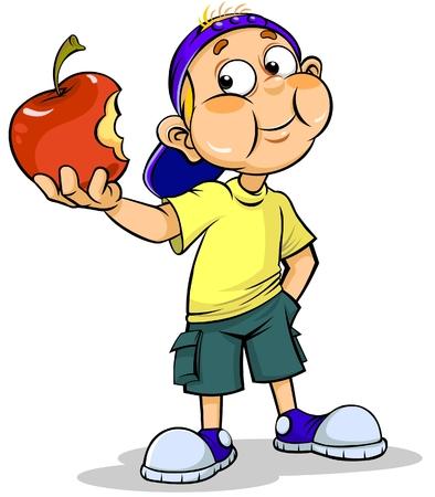 comiendo: El muchacho y la manzana