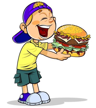 ハンバーガーを食べる少年  イラスト・ベクター素材