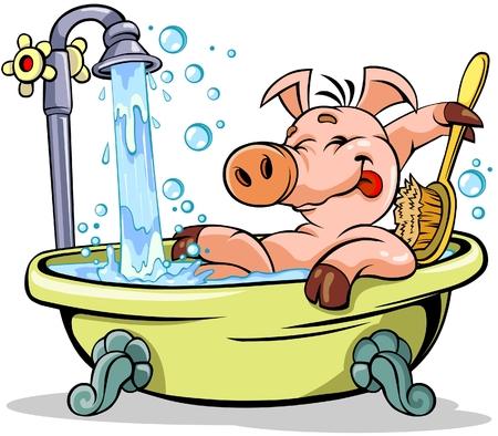 higiene: Cerdo de tomar un baño Vectores
