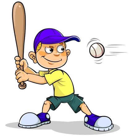 baseball caps: Cartoon boy playing Baseball