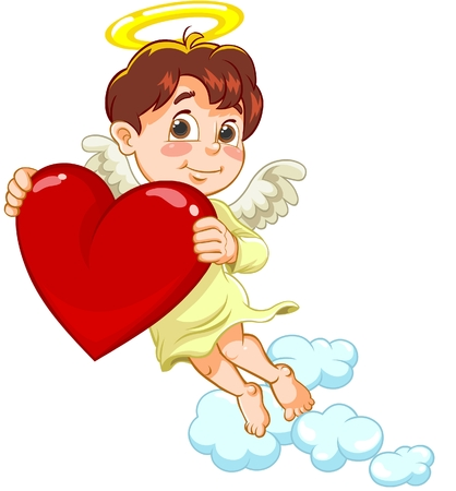 baby illustration: Angel with a heart in hands