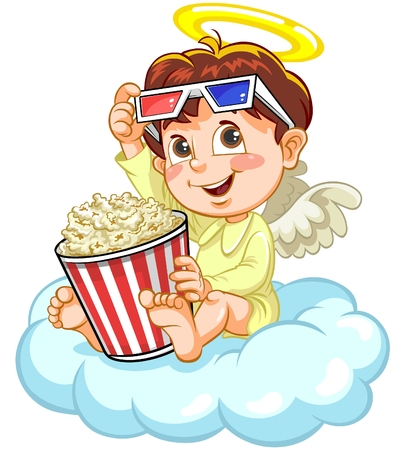 artificial wing: Angel watching movie