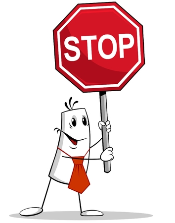 Man holding STOP Sign Ilustração