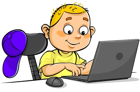 computer education: Cartoon boy using Laptop