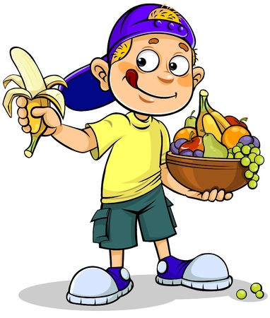 childhood: Boy and Fruits