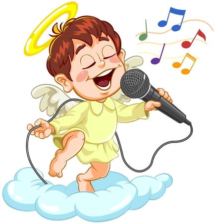 Petit bébé ange chanter avec microphone sur un nuage Vecteurs