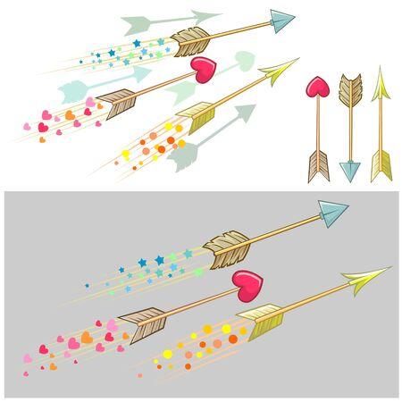 darts flying: Flying Cupid arrows Illustration