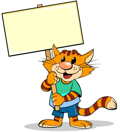 A cartoon illustration of striped red cat holding Nameplate